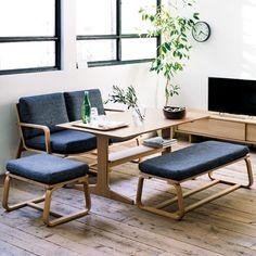 Minimalist Dining Room: Stylish Decorating Designs You'll Adore Muji Furniture, Dining Furniture, Furniture Removal, Muji Home, Minimalist Dining Room, Dining Room Design, Dining Table, Dining Sofa, Room Decor