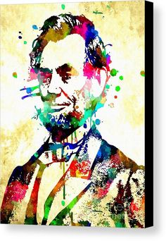 Abraham Lincoln Grunge Canvas Print featuring the mixed media Abraham Lincoln Grunge by Daniel Janda