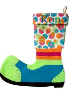 Clown stocking with FREE embroidered name by denimMOOSE on Etsy, $22.00