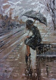 """Buy """" WHERE ARE YOU GOING I """" original painting CITY palette knife GIFT, Oil painting by Monika Luniak on Artfinder. Discover thousands of other original paintings, prints, sculptures and photography from independent artists. Walking In The Rain, Singing In The Rain, Paintings For Sale, Original Paintings, Rain Painting, Rain Art, Umbrella Art, Rain Photography, Rainy Days"""