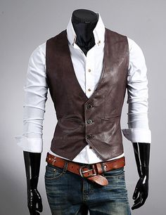 New Style Simple Design Single-Breasted Leather Waistcoat For Men
