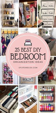 Get your bedroom super organized with these genius decluttering and organizing tips, tricks and hacks. Organisation Hacks, Closet Organization, Storage Hacks, Closet Storage, Craft Organization, Clothing Organization, Small Bedroom Organization, Bedroom Storage, Diy Bedroom