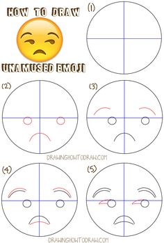 Learn how to draw unamused emoji face step by step drawing lesson