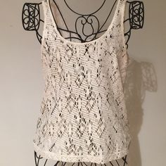 Lace tank Cream colored with metallic gold threads Kirra Tops Tank Tops