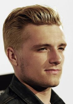Dear God, he's so pretty. Josh Hutcherson with his blonde hair for The Hunger Games, Catching Fire.
