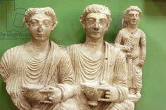 Marble statues, 2nd century AD (photo). Palmyra Museum, Syria / De Agostini Picture Library / C. Sappa / The Bridgeman Art Library
