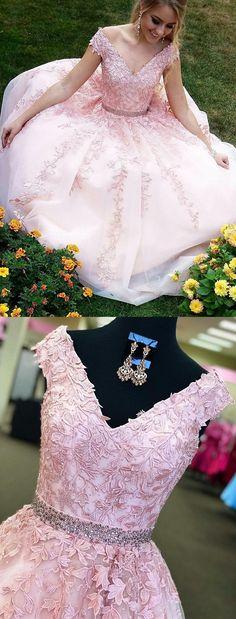 Elegant V Neck Beaded Lace Long Pink Tulle Prom Dresses #promdressonline#pinkpromdresses#cheappromdresses#eveningdresses#promgowns#promdress2018#vneckpromdress