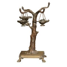 Italian Bronze Tree with three oil lamps | From a unique collection of antique and modern sculptures at https://www.1stdibs.com/furniture/decorative-objects/sculptures/