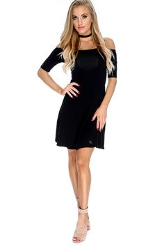 A little A-Line dress can go a long way, style with a faux fur coat, and thigh high boots with lace hosiery for a cute chic look. The features includes a bold color, off the shoulders short sleeve design, followed by a loose fitted wear. 60% Cotton 35% Rayon 5% Spandex