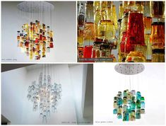"""These light sculptures are built using found """"Salvation Army"""" drinking glasses, that have been repurposed into beautiful suspended chandeliers. The mix of … Recycled Garden Art, Recycled Glass, Glass Bottle Crafts, Glass Ceramic, Interior Lighting, Lighting Ideas, Room Lights, Diy Design, Interior Design"""