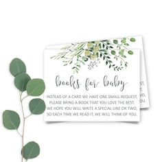 Printable Greenery Baby Shower Book Request, Botanic Books for Baby Insert Card, Eucalyptus Baby Shower Book Request INSTANT DOWNLOAD