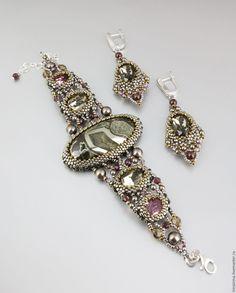 """Купить Браслет и серьги """"Fantasy"""" - серебряный, браслет, браслет с камнями, серьги, шик, красивое украшение"""