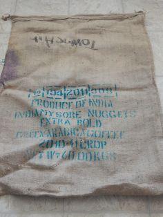 Vintage Coffee Bean Bag India by AlwaysPlanBVintage on Etsy