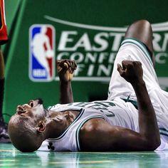 """The Celtics won. This pleases Kevin Garnett."" (@usatodaysports, via Instagram)"