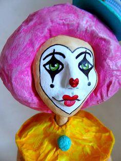 Paper mache clown girl