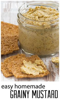 Grainy mustard - it's a snap to make at home! Two ingredients (well, three if you count water) and five minutes is all it takes to assemble this recipe. (Two Ingredients Water) Antipasto, Homemade Mustard, Mustard Recipe, Homemade Seasonings, Sauces, Fermented Foods, Canning Recipes, Real Food Recipes, Dessert