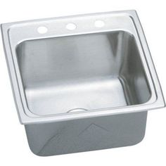 Elkay DLR1919102 Gourmet Lustertone Stainless Steel Single Bowl Top Mount Sink with 2 Faucet Holes