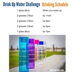 Have trouble drinking the recommended daily water intake?  Here's a Water Schedule for you. Give it a try! The Sipping Schedule™ Motivational Bottle is designed to keep you on schedule with your water intake by measuring in a timeline instead of ounces.   Drink Up! www.funfitca.com