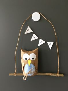 Owl cardboard, with - Fall Crafts For Toddlers Fall Crafts For Toddlers, Fun Crafts For Kids, Toddler Crafts, Preschool Crafts, Art For Kids, Arts And Crafts, Diy Crafts, Owl Box, Owl Punch
