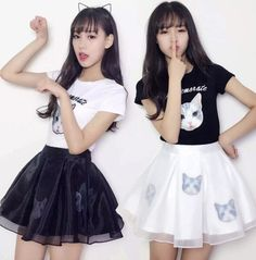 Cute cat printing T-shirt + skirt two-piece outfit