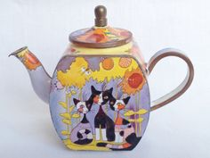 Nivag Collectables: Charlotte di Vita - Rosina Wachmeister Cat: Rosina Wachtmeister Three Cats and Sunflower Teapot - H984