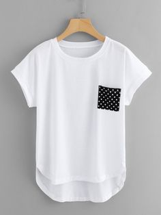 Pocket Patched Dip Hem Tee -SheIn(Sheinside) outfits style summer teenage frauen sommer for teens outfits Teen Fashion Outfits, Trendy Outfits, Cute Outfits, Fashion Fashion, Fashion Ideas, Vintage Fashion, Muslim Fashion, Fashion Black, Cute Blouses