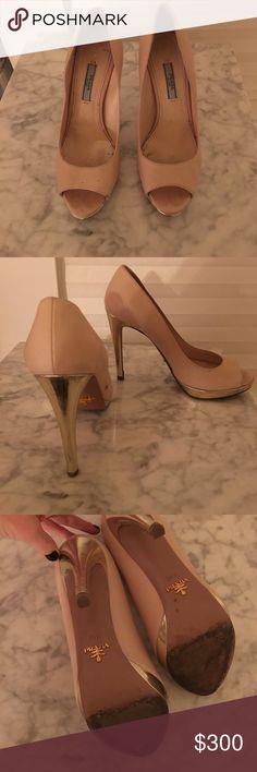 Prada platform heels Prada, open-toed platform, blush calfskin leather with metallic platform heels. Need some TLC but still stunning! Prada Shoes Heels
