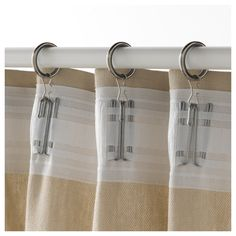 IKEA - SYRLIG, Curtain ring with clip and hook, , You can hang your curtains with either combination - rings with clips or rings with hooks.The curtains slide quietly across the rod, thanks to the lining inside the curtain rings.
