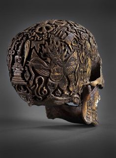 "Tibetan Skull! Tibetan Khenpo (Monk-Professor) said such skulls were carved long ago to take curse off family or guide soul of mislead human being on right path • ca. 300yrs old (1700) • gifted by buddhist monastery abbot (ancestor medical Dr of Vienna antiques shop 2011 bought by Klemens) • Institutes & Museums never saw such skulls from that region! Not even Robert Beer (author of ""The Encyclopedia of Tibetan Symbols & Motifs"" • It has Tibetan letters & 4 goat-heads"
