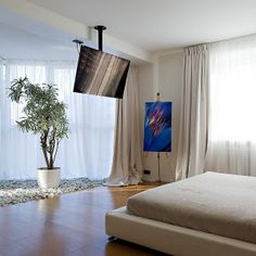 Interior, Remarkable Modern Bedroom In Apartment Also Abstract Painting Interior Idea Plus Hanging Tv And Parquet Flooring With Large Windows Design: Modern Apartment Interiors by Alexey Nikolashin Tv In Bedroom, Modern Bedroom, Bedroom Decor, Bedroom Ideas, Bedroom Black, Master Bedroom, Tv Wall Mount Designs, Ceiling Tv, Home Decor Ideas