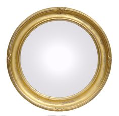 "Bright giltwood convex mirror with simple concave frame, molded edge with ribbon decoration.      Circa 1860     Diameter: 17.5""     Item #6221     Price: $1,600"
