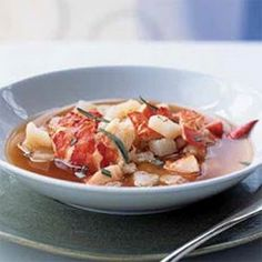 Traditional bouillabaisse uses a variety of fish and shellfish. Enhanced with stock made from lobster shells, this version focuses on the king of Seafood Stew, Seafood Dishes, Seafood Recipes, Soup Recipes, Recipies, Chili Recipes, Cooker Recipes, Dinner Recipes, Dessert Recipes