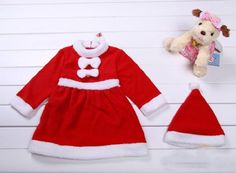 Amazon.com: Baby Girls Christmas Santa Claus Costume DRESS + HAT 2-piece Outfit: Clothing