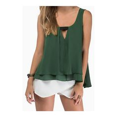 SheIn(sheinside) Green Strap V Neck Loose Tank Top (36 RON) via Polyvore featuring tops, green, chiffon tank top, chiffon tank, camisoles & tank tops, cami tank and cami tank top