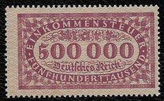+ Early Era Germany 500,000 M Inflationary Income Tax Revenue Bob unused MNH