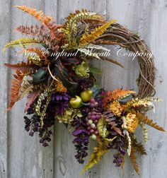 Tuscany Wreath, Designer Floral, Fall Wreath, Autumn, Thanksgiving, Harvest, New England Wreath, Elegant Holiday Wreath