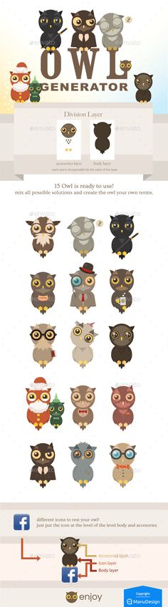 Owl Generation - Owl #Generator - #Animals #Characters Download here: https://graphicriver.net/item/owl-generation/2514494?ref=alena994