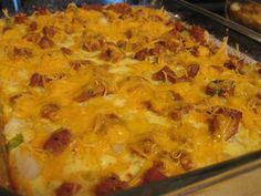 Weight Watchers Texas Style Breakfast Casserole- 3 Points Plus; make this with veggie sausage or omit sausage altogether to make this vegetarian (and likely lower Points Plus values)