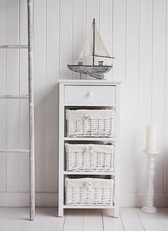 New Haven white tall basket unit for bedroom and bathroom storage furniture