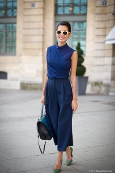 blue monochrome outfit