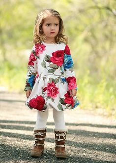 Stella Floral Betsy Dress......love the boots with this precious dress.