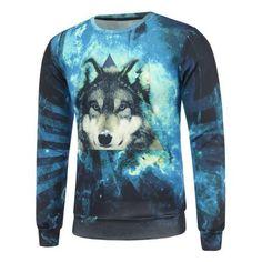 3D Wolf and Starry Sky Print Crew Neck Long Sleeve Sweatshirt