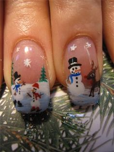 Winter Scene nails- I cant even do this on paper