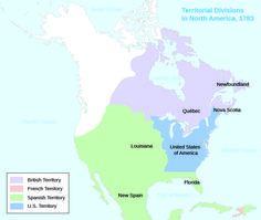 A map shows the territorial divisions in North America in 1783. British, French, Spanish, and U.S. Territory are shaded. Louisiana, Florida, and New Spain are labeled within Spanish Territory, which includes most of the present-day U.S. west of the Mississippi as well as Mexico and Central America. Quebec, Newfoundland, and Nova Scotia are labeled within British Territory, which includes much of present-day Canada. The United States of America is labeled within U.S. Territory, which is…