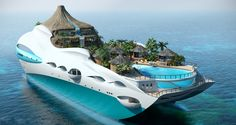 Youve probably seen various design of luxury yachts but for sure you havent seen such creative one. UK based company Yacht Island Design Ltd. moved up to a new level and has combined giant-sized personal luxury yacht and tropical island. Yacht Design, Super Yachts, Dream Vacations, Vacation Spots, Vacation Ideas, Floating House, Floating Island, Island Design, Paradise Island