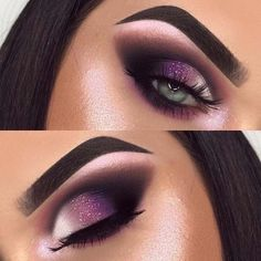 23 Stunning Makeup Ideas for Fall and Winter Sparkly Purple Eye Makeup for Blue Eyes – Das schönste Make-up Purple Eye Makeup, Purple Lips, Smokey Eye Makeup, Blue Eyes, Brown Eyes, Purple Smokey Eye, Eyeliner Makeup, Smoky Eye, Dark Brown