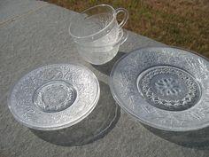 16.95 2 sets Vintage Indiana Glass Clear Sandwich 6 PIECE Depression by defdif