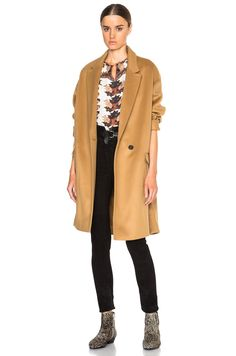 Isabel Marant Stephanie Top in Ecru with camel coat and black skinny jeans