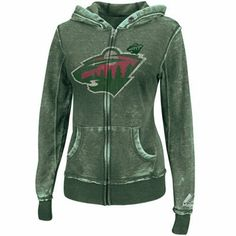e221aae98 Majestic Minnesota Wild Ladies Delayed Call Full Zip Hoodie - Green  Minnesota Wild
