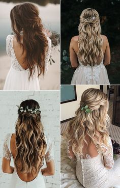 16 Effortless Boho Wedding Hairstyles to Fall In Love With- <!entry-header --> We all love the hypnotic and creative energy of boho inspired brides, which give a touch of effortless chic. Half Up Wedding, Wedding Hair Down, Wedding Hairstyles For Long Hair, Wedding Hair And Makeup, Down Hairstyles, Chic Wedding, Pretty Hairstyles, Bohemian Wedding Hairstyles, Fall Hairstyles
